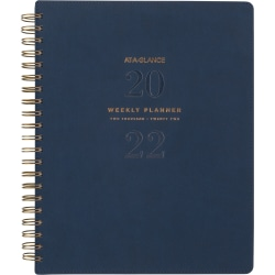 """AT-A-GLANCE® 13-Month Signature Collection Weekly/Monthly Planner, 8-1/2"""" x 11"""", Navy, January 2022 To January 2023, YP9052"""