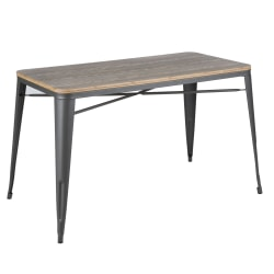 Lumisource Oregon Industrial Farmhouse Utility Table, Rectangular, Brown/Gray