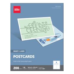 "Office Depot® Brand Inkjet/Laser Post Cards, 4 1/4"" x 5 1/2"", Bright White, Pack Of 200"