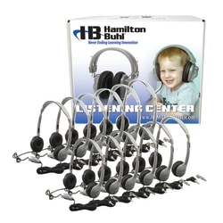 HamiltonBuhl MS2LV Personal On Ear Headphones Lab Pack, Silver/Black, Pack Of 12 Headphones