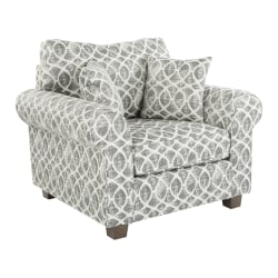 Office Star Rolled Armchair With 2 Pillows, Mist Geo Navy
