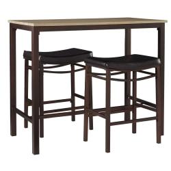Linon Home Decor Products Lauren 3-Piece Pub Set, Brown/Black