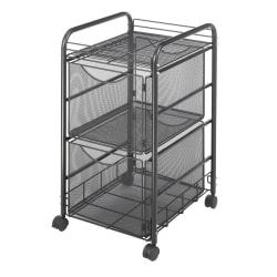 "Safco® Onyx Mesh File Cart With 2 File Drawers, 27-1/2""H x 15-1/4""W x 17-1/2""D, Black"