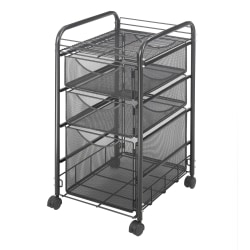 "Safco® Onyx™ Mesh File Cart With 1 File Drawer And 2 Small Drawers, 27 1/2""H x 15 1/4""W x 17 1/2""D, Black"