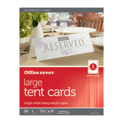 """Office Depot® Brand Inkjet/Laser Tent Cards, Large, 3 1/2"""" x 11"""", Bright White, Pack Of 50"""