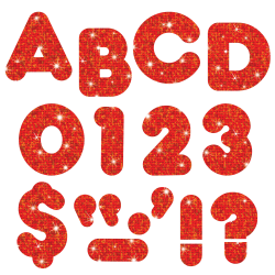 "TREND Ready Letters®, Casual, 3"", Red Sparkle, Pre-K - Grade 12, Pack Of 124"