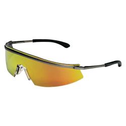 Triwear Metal Protective Eyewear, Fire Lens, Duramass HC, Platinum Frame