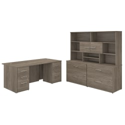"""Bush Business Furniture Office 500 72""""W Executive Desk With Lateral File Cabinets And Hutch, Modern Hickory, Standard Delivery"""