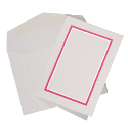 JAM Paper® Small Stationery Set, Pink/White, Set Of 100 Cards And 100 Envelopes