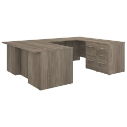 """Bush Business Furniture Office 500 72""""W U-Shaped Executive Desk With Drawers, Modern Hickory, Standard Delivery"""