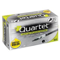 Quartet® EnduraGlide® Dry-Erase Markers, Fine, Black, Pack Of 12