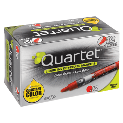 Quartet® EnduraGlide® Dry-Erase Markers, Chisel, Red, Pack Of 12