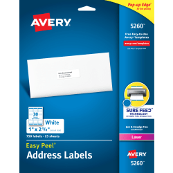 "Avery® Easy Peel® Permanent Laser Address Labels, 1"" x 2 5/8"", FSC® Certified, White, Pack Of 750"