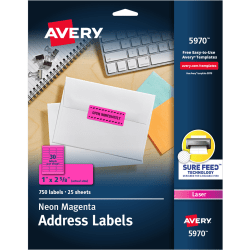"Avery® High-Visibility Permanent Laser ID Labels, 5970, 1"" x 2 5/8"", Neon Magenta, Pack Of 750"