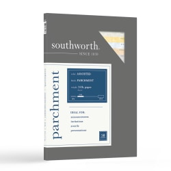 "Southworth® Parchment Specialty Paper, Sampler, 8 1/2"" x 11"", Assorted Colors, Pack Of 50"