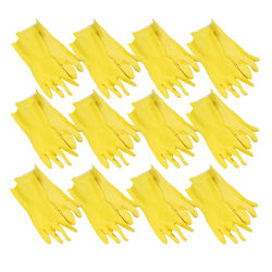 Boardwalk Flock-Lined Latex Cleaning Gloves, Large, Yellow, Pack Of 12 Pairs