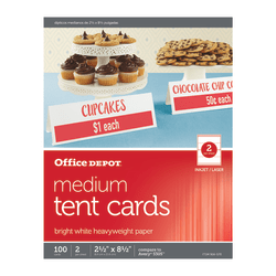 "Office Depot® Brand Inkjet/Laser Tent Cards, Medium, 2 1/2"" x 8 1/2"", Bright White, Pack Of 100"