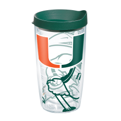 Tervis Genuine NCAA Tumbler With Lid, Miami Hurricanes, 16 Oz, Clear