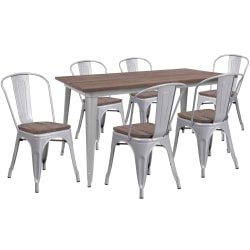 "Flash Furniture Metal Table Set With Wood Top And 6 Stack Chairs, 30-1/2""H x 30-1/4""W x 60""D, Silver"