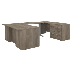 """Bush Business Furniture Office 500 Height-Adjustable U-Shaped Executive Desk With Drawers, 72""""W, Modern Hickory, Standard Delivery"""