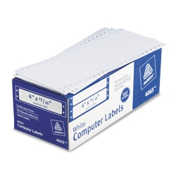"""Avery® High-Speed Continuous Form Permanent Address Labels, 4065, 4"""" x 15/16"""", White, Pack Of 5,000"""