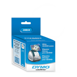 DYMO® Thermal CD/DVD Labels, DYM30854, White, Pack Of 160
