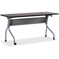 "Lorell® Flip Top Training Table, 60""W, Espresso/Silver"