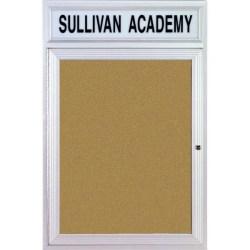 "Ghent Headliner Cork Bulletin Board, 1 Door, 36"" x 36"", Satin Aluminum Frame"