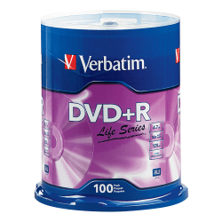 Verbatim® Life Series DVD+R Spindle, Pack Of 100
