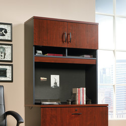 Sauder® Via Lateral File Hutch, Classic Cherry/Soft Black