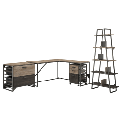 """Bush Furniture Refinery 62""""W L Shaped Desk With 37""""W Return, Bookshelf And File Cabinets, Rustic Gray/Charred Wood, Standard Delivery"""