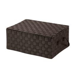Honey-Can-Do Hinged-Lid Woven Storage Box, Medium Size, Espresso