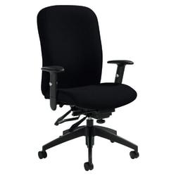 "Global® Heavy-Duty Truform Multi-Tilter Adjustable Chair, High-Back, 42""H x 26""W x 25""D, Black"