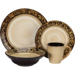 Cuisinart Isere Collection CDST1-S4G5 Table Ware - Dinner Plate, Salad Plate, Bowl, Mug - Ceramic, Stoneware - Dishwasher Safe - Microwave Safe - Brown