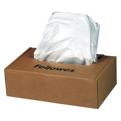 Fellowes® Powershred® Waste Bags, White, Carton Of 100 Bags