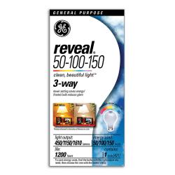 GE Reveal 3-Way Light Bulb, 50 Watts/100 Watts/150 Watts