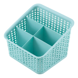 See Jane Work® Plastic Weave 5 Compartment Bin, Medium Size, Blue