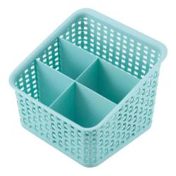 See Jane Work® Plastic Weave 5 Compartment Bin, Medium Size, Blue