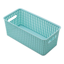 See Jane Work® Plastic Weave Bookshelf Bin, Medium Size, Blue