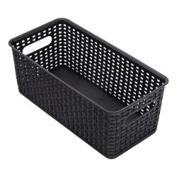 See Jane Work® Plastic Weave Bookshelf Bin, Medium Size, Black