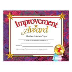 """Hayes Publishing Certificates, Improvement Award, 8 1/2"""" x 11"""", Multicolor, Pre-K To Grade 12, Pack Of 30"""