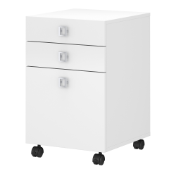 """kathy ireland® Office by Bush Business Furniture Echo 19-4/7""""D Vertical 3-Drawer Mobile File Cabinet, Pure White, Standard Delivery"""