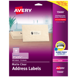 "Avery® Easy Peel® Permanent Laser Address Labels, 15660, 1"" x 2 5/8"", Clear, Pack Of 300"