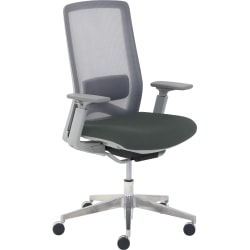True Commercial Melbourne Mesh/Fabric Mid-Back Chair, Dark Gray/Off-White
