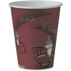 Solo Bistro Design Disposable Paper Cups - 8 fl oz - 50 / Pack - Maroon - Paper - Beverage, Hot Drink, Cold Drink, Coffee, Tea, Cocoa