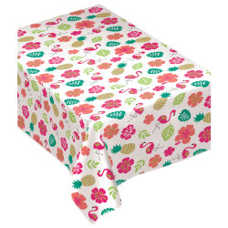 "Amscan Flannel-Backed Table Cover, 52"" x 90"", Summer Luau Aloha"
