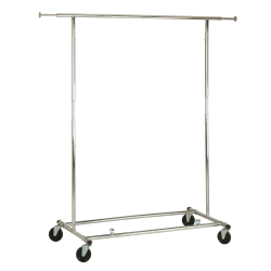 """Honey-Can-Do Collapsible Commercial Garment Rack With Wheels, 66 5/8""""H x 22""""W x 74 5/16""""D, Chrome"""
