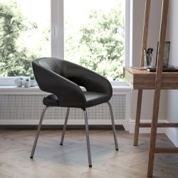 Flash Furniture Fusion Contemporary Bonded LeatherSoft™ Side Reception Chair With Chrome Legs, Black