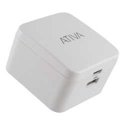 Ativa® USB Type-A And USB Type-C Wall Charger, White, 45868