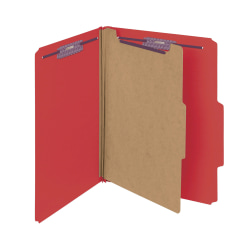 Smead® Pressboard Classification Folder with SafeSHIELD Fastener, 1 Divider, Letter Size, 50% Recycled, Bright Red